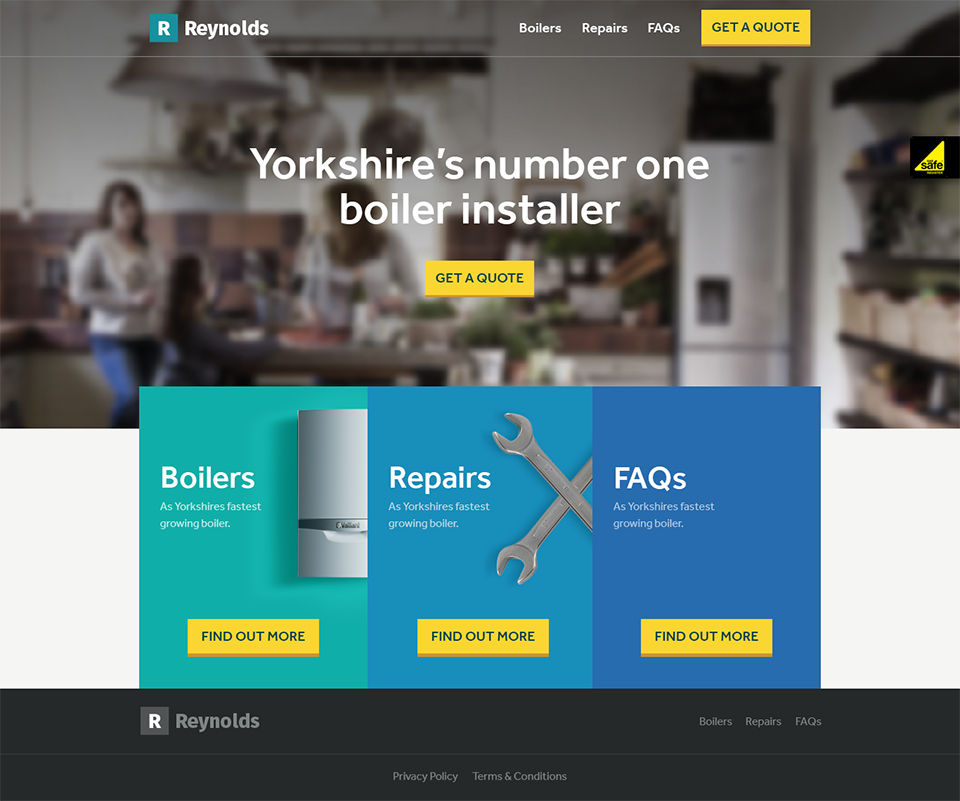 Reynolds Boilers homepage screenshot