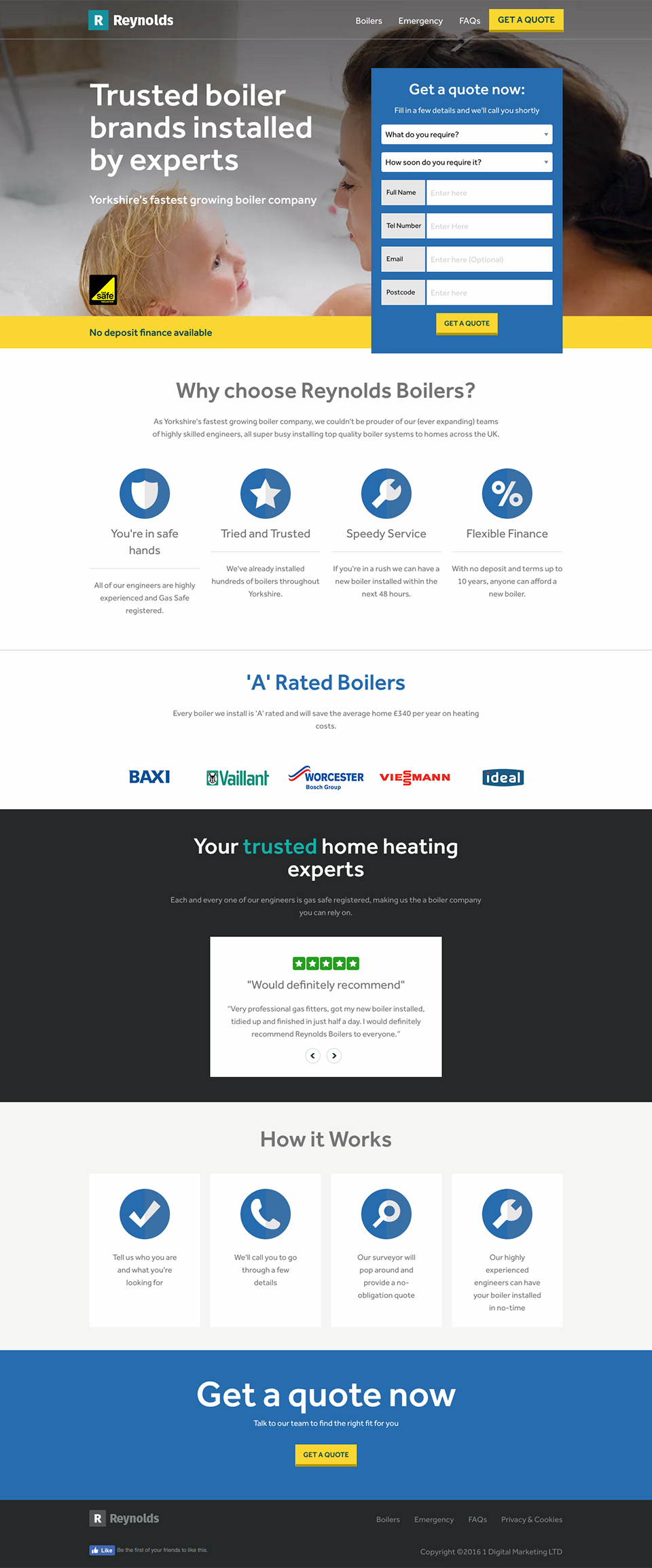 Reynolds Boilers landing page screenshot